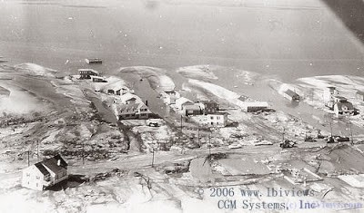 Aerial view of destruction caused by the 1962 Nor'Easter