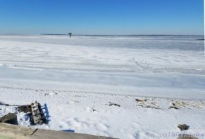 The bay frozen at ICW marker 99 - Jan 1 2018