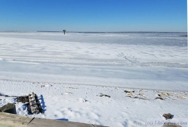 The bay frozen at marker 99 on the ICW. Jan 2018