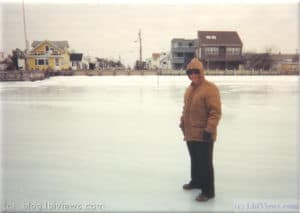Walking on the ice in the bay in North Beach Haven in the 1990's.