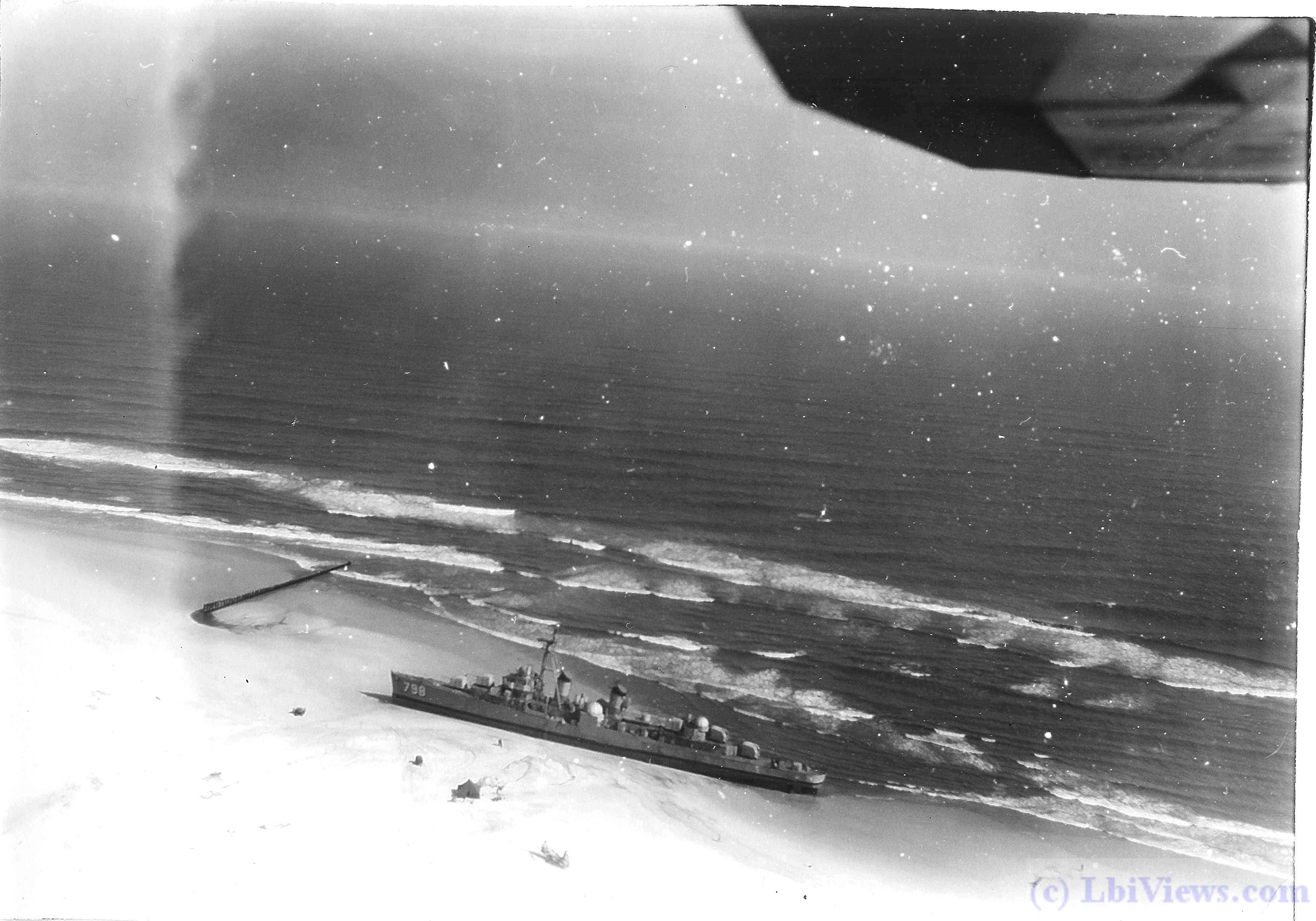 USS Monssen DD 798 aground at Holgate NJ