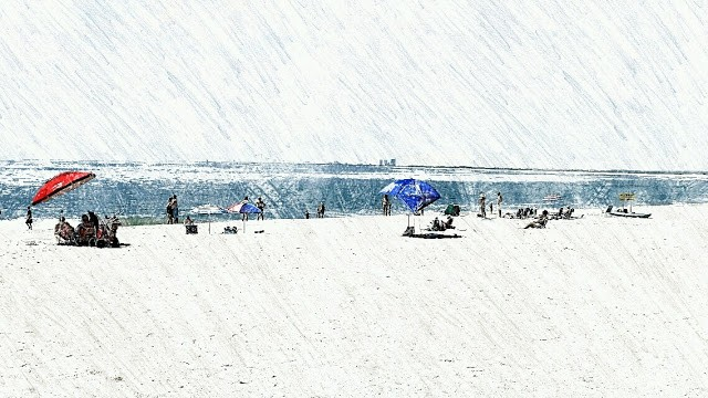 The beach at the south end of Long Beach Island in Holgate. Stylized
