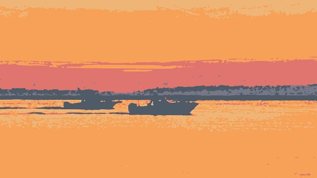 Two boats at sunset. North Beach Haven. Stylized
