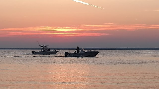 Two boats at sunset. North Beach Haven.