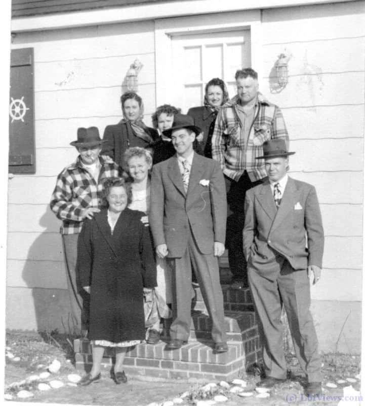 A photo from the 1940's in North Beach Haven. An interesting mix of Flannel shirts and suits for the guys.