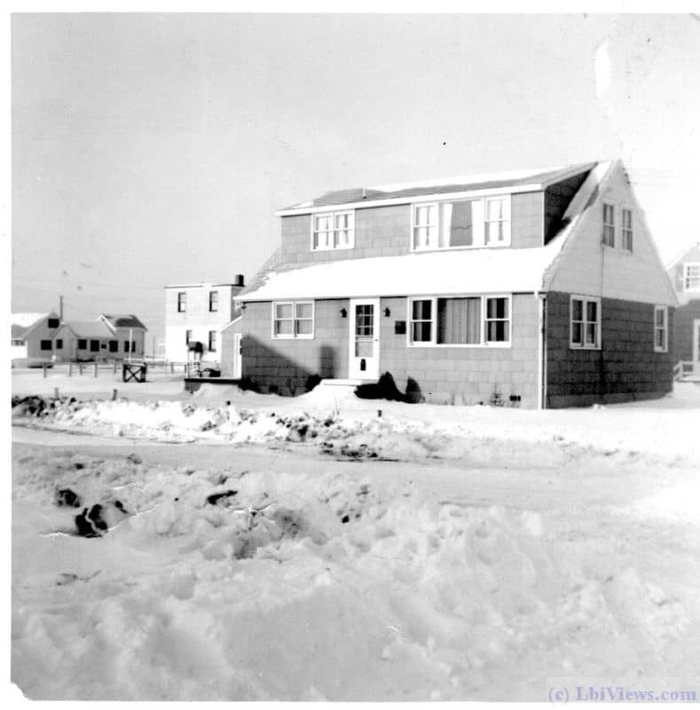 Snow on the roof and street. 17th Street and Waverly Avenue. North Beach Haven. Circa 1955