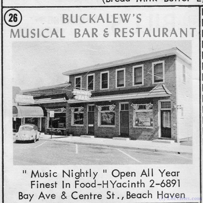 A 1963 ad for Buckalew's Musical Bar and Restaurant in Beach Haven, NJ