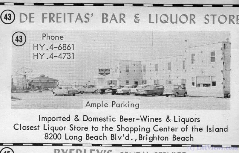 1963 ad for De Freita's Bar and Liquor Store.