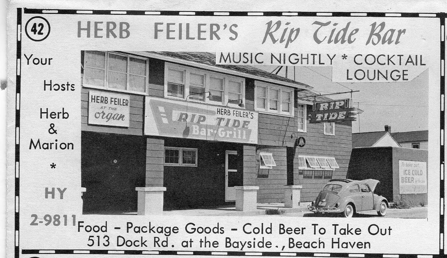 An ad for Herb Feiler's Rip Tide Bar from 1963