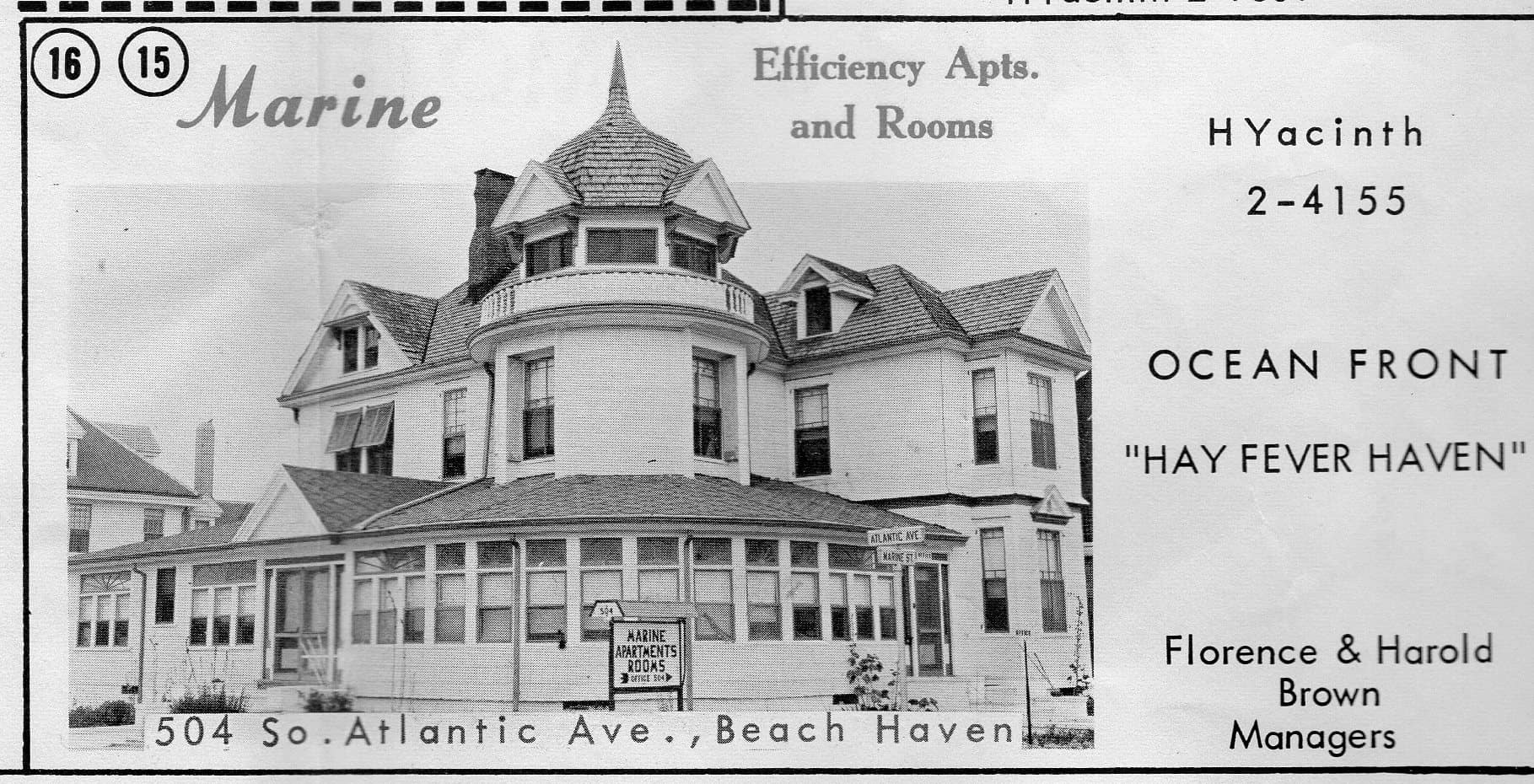 1963 ad for Marine Efficiency Apartments and Rooms in Beach Haven, NJ