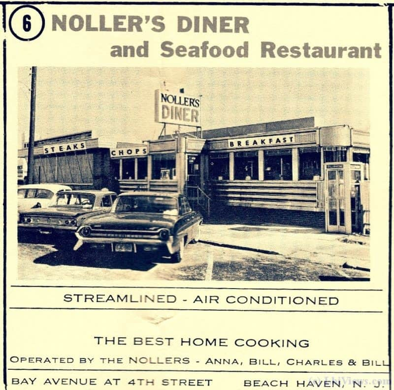 1963 ad for Noller's Diner and Seafood Restaurant in Beach Haven, NJ