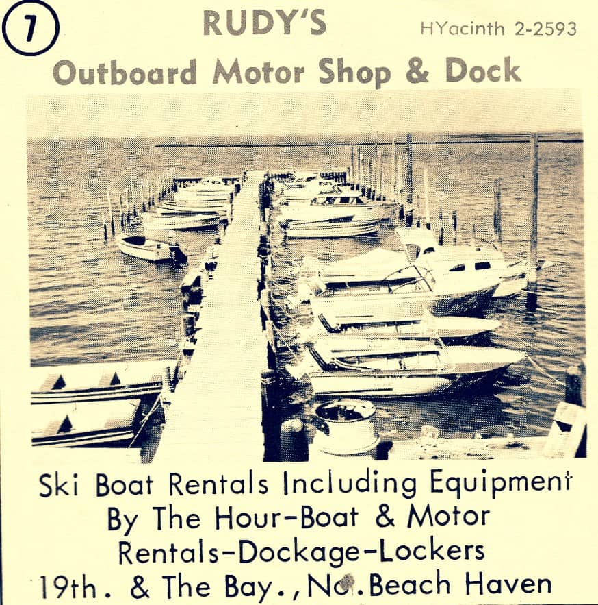 1963 ad for Rudy's Outboard Motor Shop and Dock in North Beach Haven