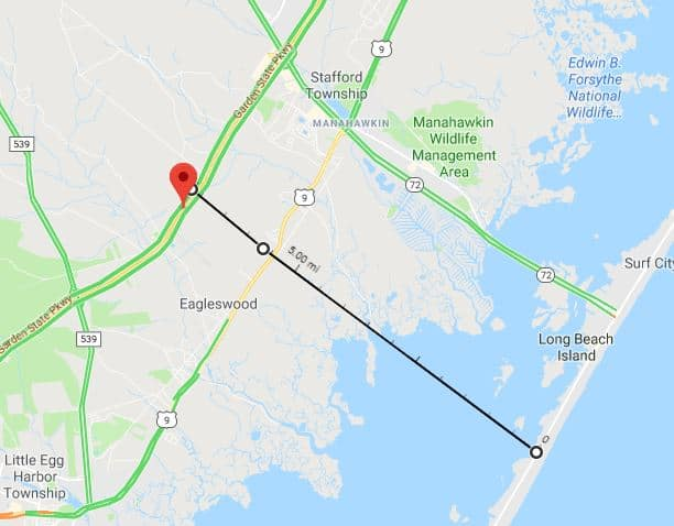 A possible second route for a bridge to Long Beach Island