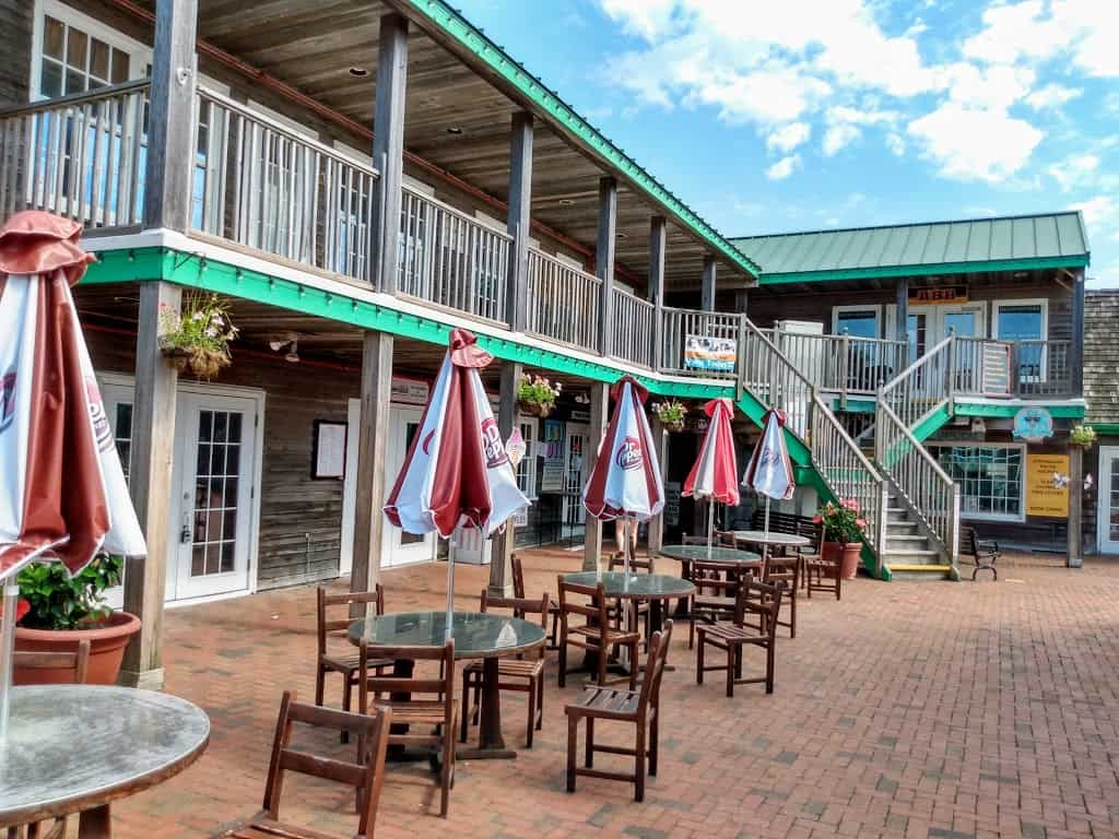 Outdoor seating at the Schooner's Wharf in Beach Haven, NJ
