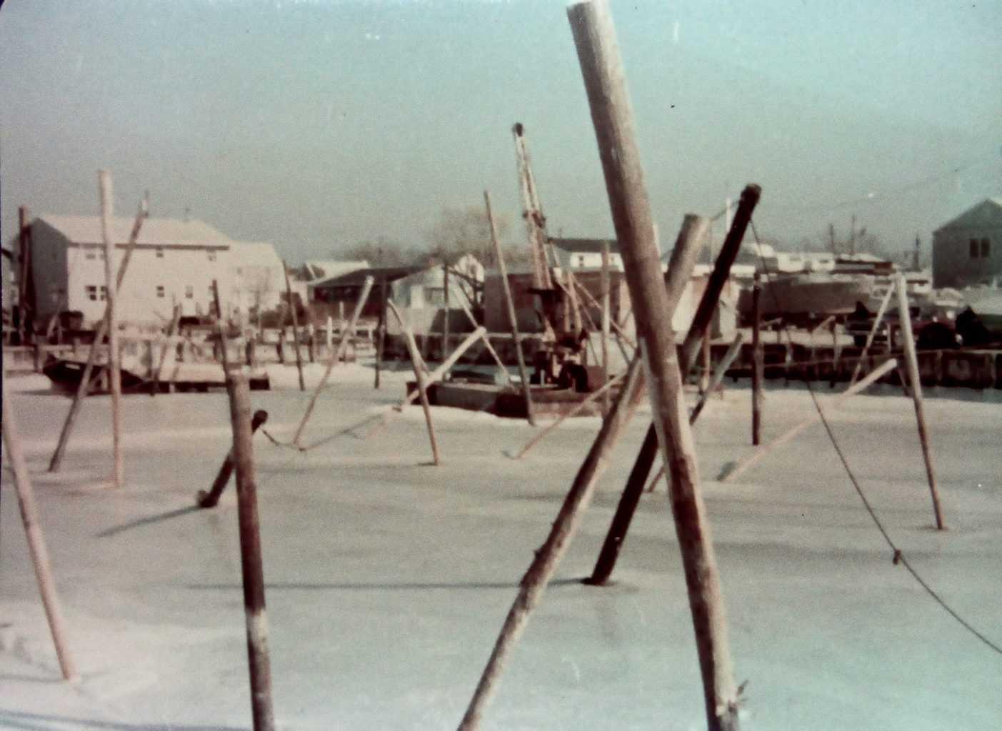 Marina Ice Damage 1970's - Stilt's Marina in North Beach Haven NJ Long Beach Island