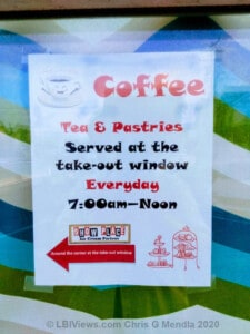 Coffee, Tea and Pastries takeout at the Show Place in Beach Haven, NJ
